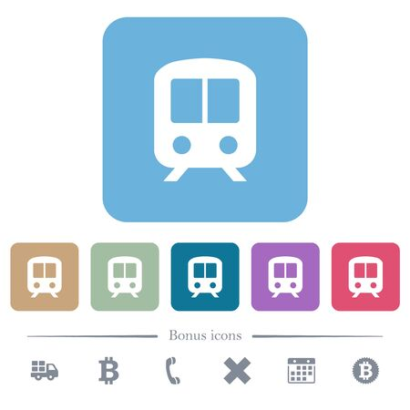 Train white flat icons on color rounded square backgrounds. 6 bonus icons included