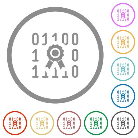Digital certificate flat color icons in round outlines on white background Ilustrace