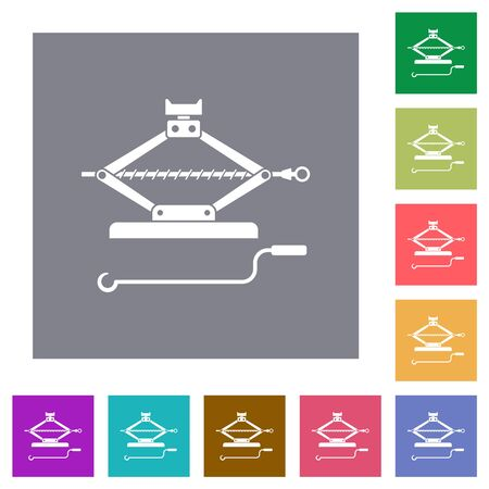 Car jack with crank flat icons on simple color square backgrounds Illustration