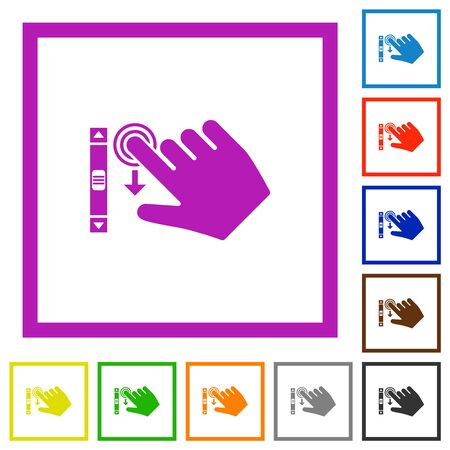 Right handed scroll down gesture flat color icons in square frames on white background