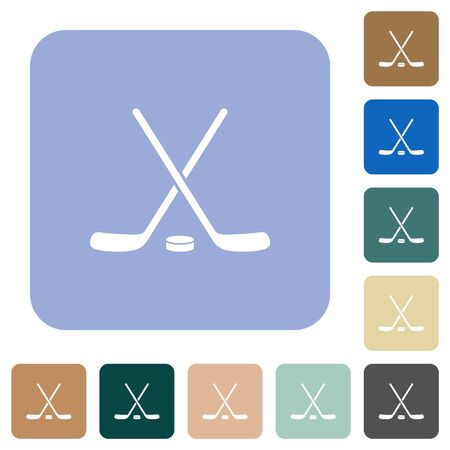 Hockey sticks with puck white flat icons on color rounded square backgrounds