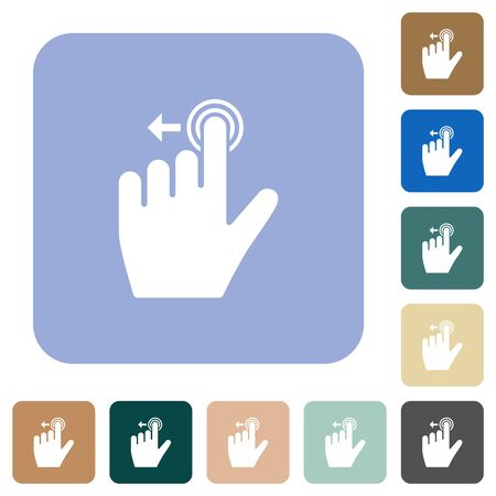 Right handed slide left gesture white flat icons on color rounded square backgrounds Stock Illustratie