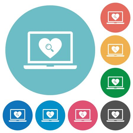 Online Dating on laptop flat white icons on round color backgrounds