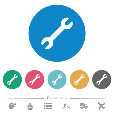 Single wrench flat white icons on round color backgrounds. 6 bonus icons included. Illustration