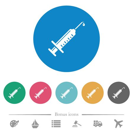 Syringe with drop flat white icons on round color backgrounds. 6 bonus icons included. Illustration