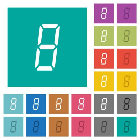 digital number eight of seven segment type multi colored flat icons on plain square backgrounds. Included white and darker icon variations for hover or active effects.  イラスト・ベクター素材
