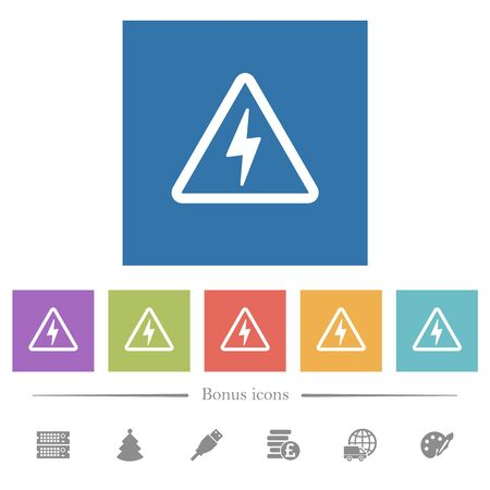 Danger electrical hazard flat white icons in square backgrounds. 6 bonus icons included.
