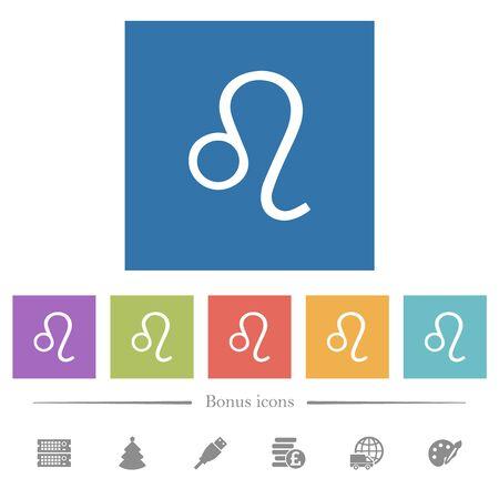 Leo zodiac symbol flat white icons in square backgrounds. 6 bonus icons included.