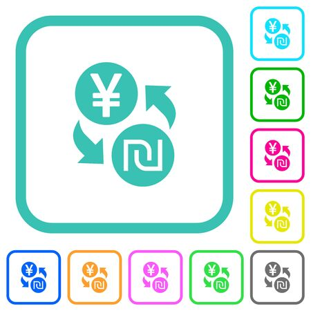 Yen new Shekel money exchange vivid colored flat icons in curved borders on white background