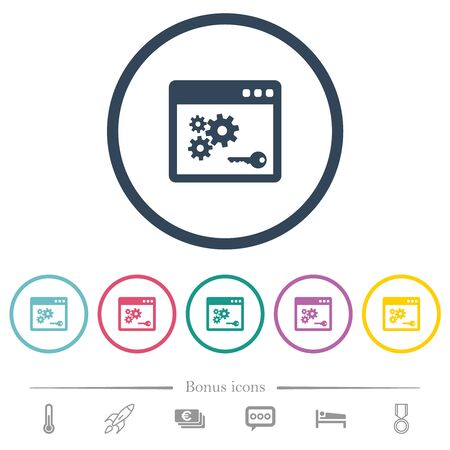 API key flat color icons in round outlines. 6 bonus icons included. Illustration
