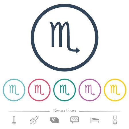Scorpio symbol flat color icons in round outlines. 6 bonus icons included.