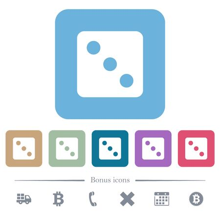 Dice three white flat icons on color rounded square backgrounds. 6 bonus icons included Фото со стока - 130530837