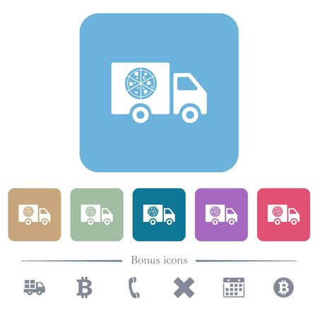 Pizza delivery truck white flat icons on color rounded square backgrounds. 6 bonus icons included Çizim