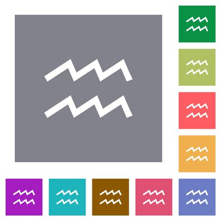 aquarius zodiac symbol flat icons on simple color square backgrounds