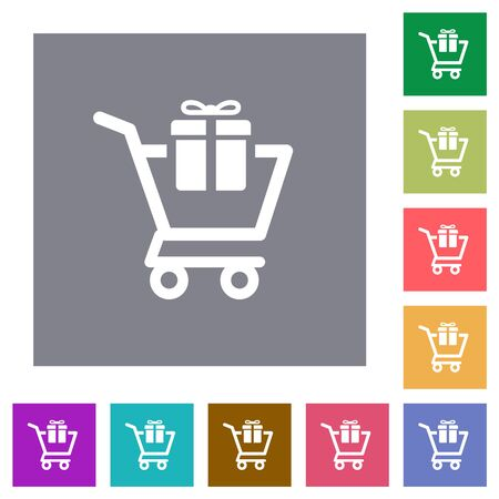 Gift shopping flat icons on simple color square backgrounds