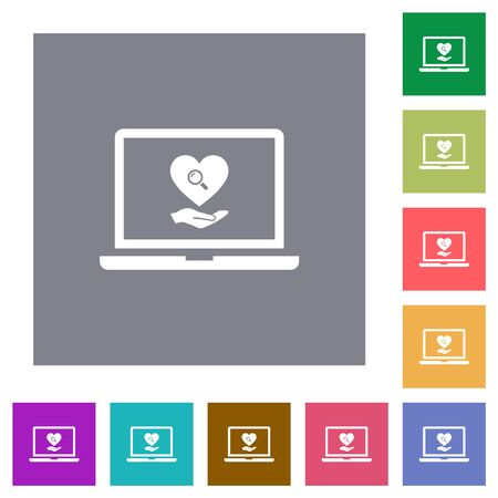 Online Dating on laptop flat icons on simple color square backgrounds