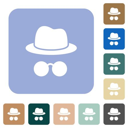 Incognito with glasses white flat icons on color rounded square backgrounds