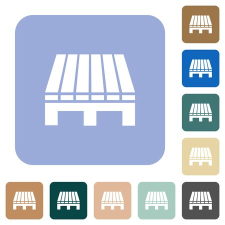 Single pallet white flat icons on color rounded square backgrounds
