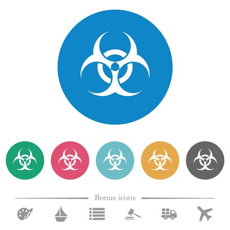 Biohazard sign flat white icons on round color backgrounds. 6 bonus icons included. Иллюстрация