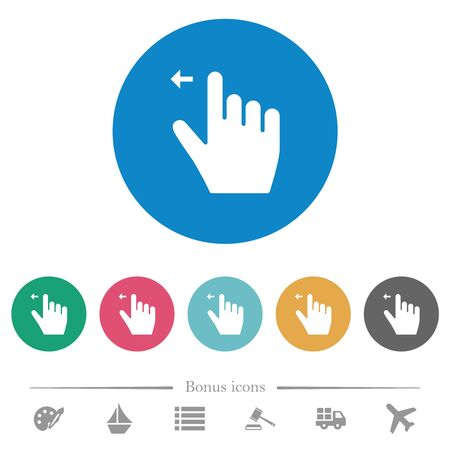 Right handed move left gesture flat white icons on round color backgrounds. 6 bonus icons included. Иллюстрация
