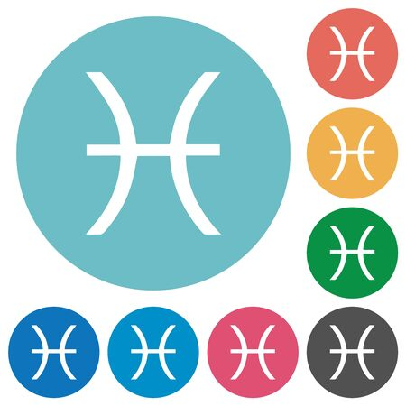 Pisces zodiac symbol flat white icons on round color backgrounds