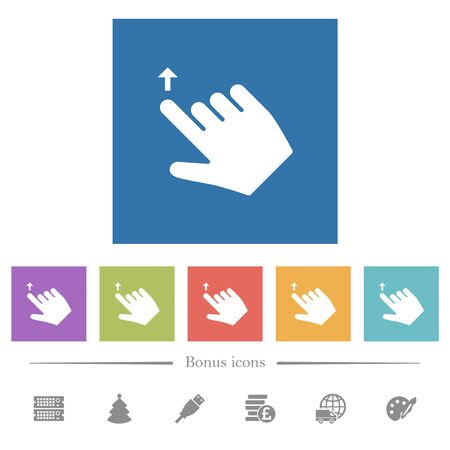 Right handed move up gesture flat white icons in square backgrounds. 6 bonus icons included.