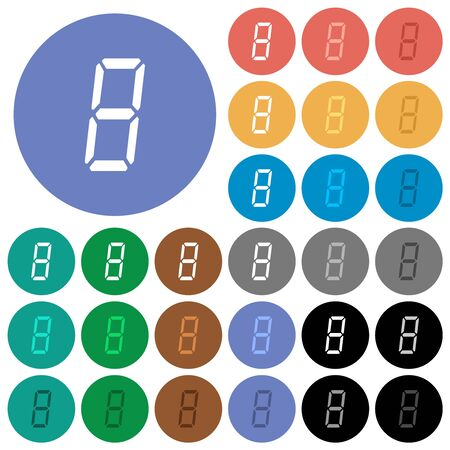 digital number eight of seven segment type multi colored flat icons on round backgrounds. Included white, light and dark icon variations for hover and active status effects, and bonus shades.