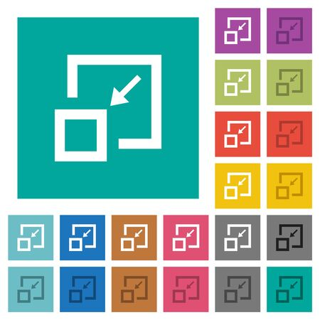 Shrink window multi colored flat icons on plain square backgrounds. Included white and darker icon variations for hover or active effects.