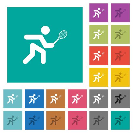 Tennis player multi colored flat icons on plain square backgrounds. Included white and darker icon variations for hover or active effects.
