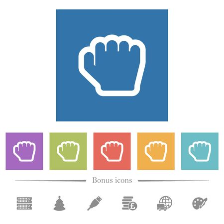 Grab cursor flat white icons in square backgrounds. 6 bonus icons included.