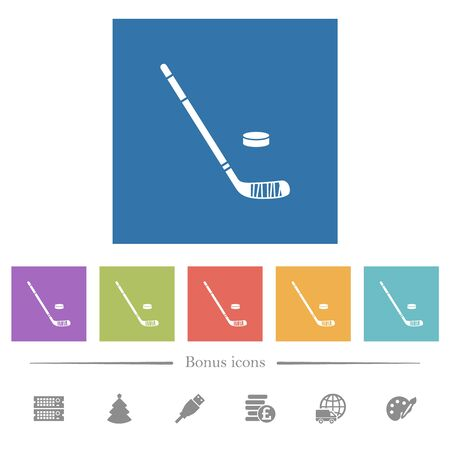 Hockey stick and puck flat white icons in square backgrounds. 6 bonus icons included.