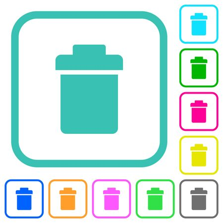 Single trash vivid colored flat icons in curved borders on white background Illustration