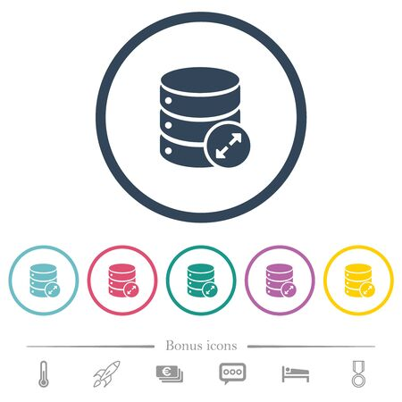 Expand database flat color icons in round outlines. 6 bonus icons included. Reklamní fotografie - 131707662
