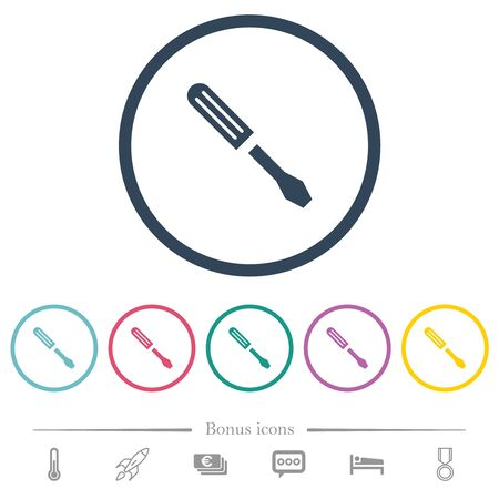 Single screwdriver flat color icons in round outlines. 6 bonus icons included. Reklamní fotografie - 131707666