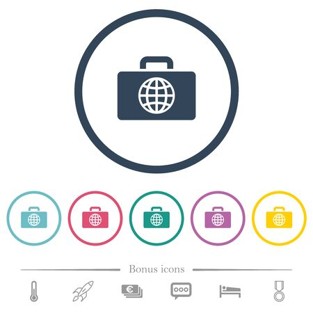Travel bag flat color icons in round outlines. 6 bonus icons included. Illustration