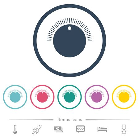 Simple volume control flat color icons in round outlines. 6 bonus icons included.
