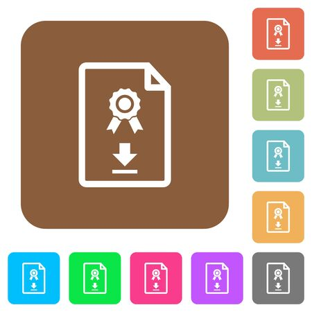 Download certificate flat icons on rounded square vivid color backgrounds. Stockfoto - 131707669