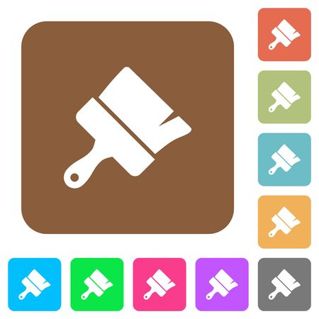 Paint brush flat icons on rounded square vivid color backgrounds. Çizim