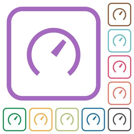Speedometer simple icons in color rounded square frames on white background