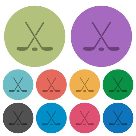 Hockey sticks with puck darker flat icons on color round background Ilustração
