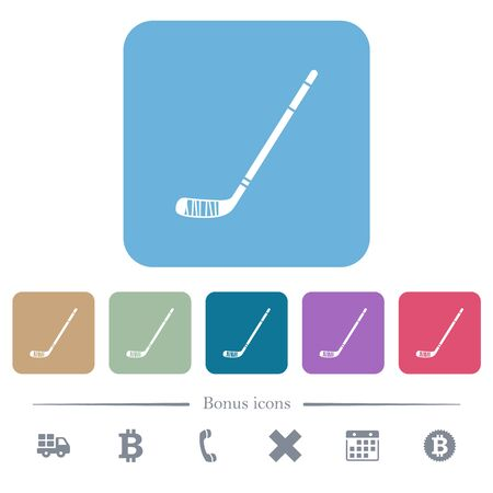 Ice hockey stick white flat icons on color rounded square backgrounds. 6 bonus icons included
