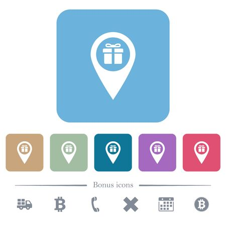 Gift shop GPS map location white flat icons on color rounded square backgrounds. 6 bonus icons included