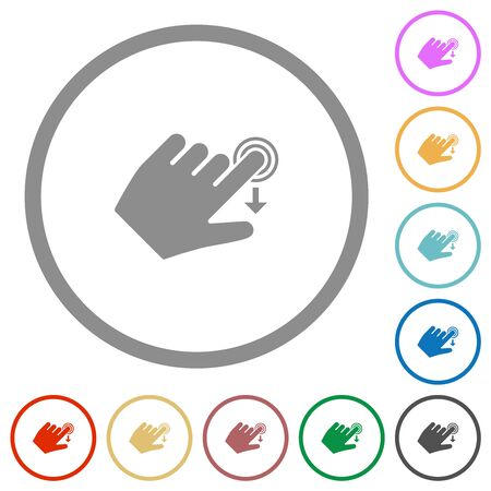 Left handed slide down gesture flat color icons in round outlines on white background