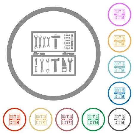 Open toolbox flat color icons in round outlines on white background Stock Illustratie