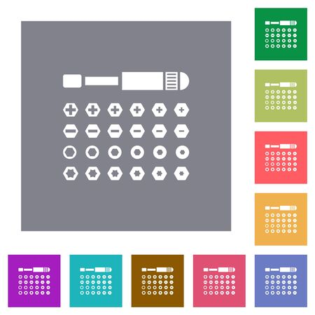 Set of screwdriver bits flat icons on simple color square backgrounds
