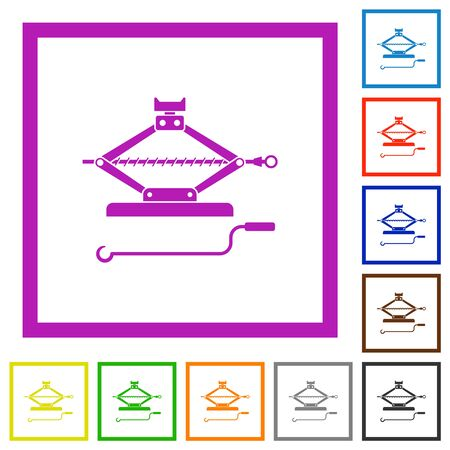 Car jack with crank flat color icons in square frames on white background Иллюстрация