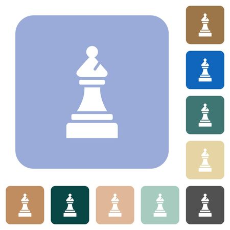 Black chess bishop white flat icons on color rounded square backgrounds