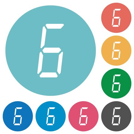 digital number six of seven segment type flat white icons on round color backgrounds