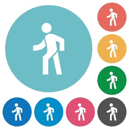Man walking left flat white icons on round color backgrounds