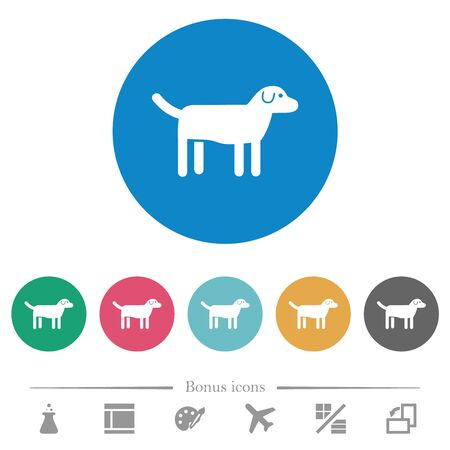 Dog flat white icons on round color backgrounds. 6 bonus icons included.
